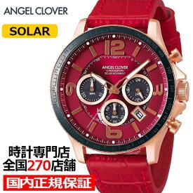 【20日はポイント最大45倍】エンジェルクローバー タイムクラフト TCS44PG-RE メンズ 腕時計 ソーラー 革ベルト レッド クロノグラフ