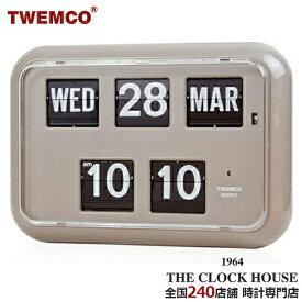 TWEMCO トゥエンコ 掛置兼用 パタパタ時計 フリップクロック パーペチュアルカレンダー グレー QD-35