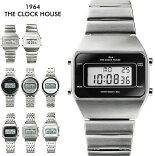 ザ・クロックハウスタウンカジュアルメタルデジタルユニセックス腕時計ブラックグレーホワイトレトロモダン防水