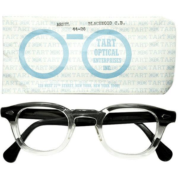 美シルエット size44/26 USA製 オリジナル 1950s-1960s USA製 タートアーネル TARTOPTICAL タートオプティカル ARNEL 2TONE BLACKWOOD スリーブ付 極上 デッドストック a5417 ビンテージ 眼鏡 メガネ
