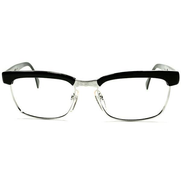 普遍的名作 オリジナル待望 BLACK 極上デッドストック1960s-1970s 西ドイツ製 RODENSTOCK ローデンストック ARNOLD 黒x 1/20 10K WHITEゴールド 金張 size56/18 ヴィンテージ 眼鏡 メガネ a5447