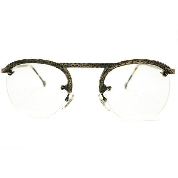 荘厳ALL彫金模様入 デッドストック 1980s イタリア製 MADE IN ITALY 初期 l.a.Eyeworks 即着用可 UPPER BRIDGE×FUL-VUEマウント 真鍮色 リムレス パント ヴィンテージ メガネ 眼鏡 実寸47/25 良好サイズ A5146