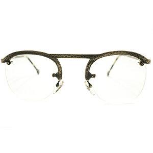 荘厳ALL彫金模様入 デッドストック 1980s イタリア製 MADE IN ITALY 初期 l.a.Eyeworks 即着用可 UPPER BRIDGE×FUL-VUEマウント 真鍮色 リムレス パント ビンテージヴィンテージ 眼鏡メガネ 実寸47/25 良好サ