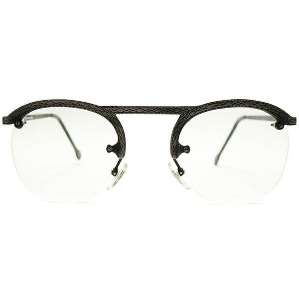 古典的ディテール導入 デッドストック 1980s イタリア製 MADE IN ITALY l.a.Eyeworks 総彫金模様 UPPER BRIDGE×FUL-VUEマウント リムレス パント ヴィンテージ メガネ 眼鏡 GOODSIZE 実寸47/25 A5147