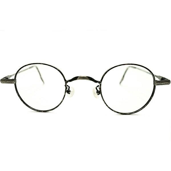 大胆発想CAMOプリント デッドストック 1980s フランス製 MADE IN FRANCE 小径アイ×ロングマウント 彫金模様 ANTIQUEシルエット パント型 ヴィンテージ 眼鏡 丸メガネ GOOD SIZE A5155