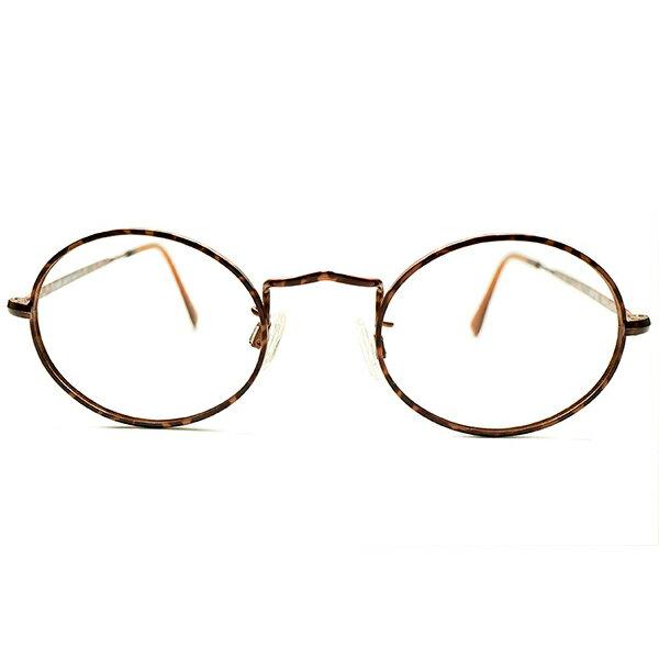 世界的高評価 デッドストック 1980s イタリア製 MADE IN ITALY ジョルジオアルマーニ GIORGIO ARMANI 総鼈甲柄プリント×山型ブリッジ オーバル型 ヴィンテージ ラウンド 眼鏡 丸眼鏡 50/21 A5216