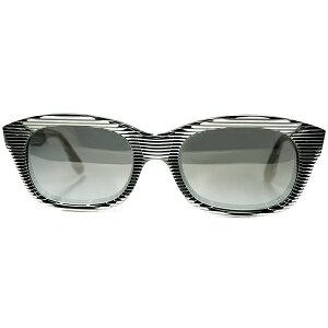 OLDミラーガラスLENS SPECIAL仕様 1980s FRANCE製 デッドストック 初期作品alain mikliアランミクリ STRIPE TRICK ARTフレンチウェリントン ビンテージヴィンテージ 眼鏡メガネ サングラス a7046