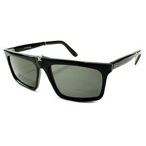 ゲキ渋ALL BLACK&実用的MODE デッドストック 1960s イタリア製 MADE IN ITALY 幾何学シェイプ 折り畳み式 FOLDING 黒 ウェリントン 当時物ガラスレンズ入 サングラス ビンテージヴィンテージ 眼鏡メガネ