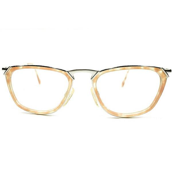 デッドストック 1980-1990s ドイツ製 MADE IN GERMANY CERRUTI 1881 by RODENSTOCK ローデンストック Wネーム インナーリム ウェリントン ペールオレンジ×シルバー ヴィンテージ メガネ 眼鏡 A4521
