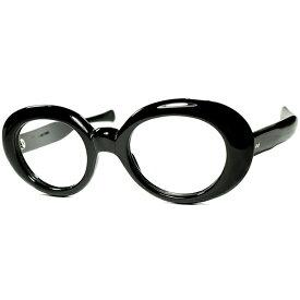 元ネタ的ORIGINALカート・コバーン型 1960s フランス製 デッドストック FRAME FRANCE 肉厚6mm FOX OVALラウンド BLACK size44/22 ビンテージヴィンテージ 眼鏡メガネ a7444
