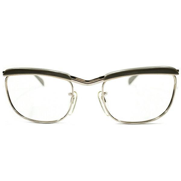 質実剛健激シブカラー デッドストック 1950s-1960s 西ドイツ製 MADE IN WEST GERMANY 本金張りゴールドメタル×SILKYグレージュ RODENSTOCK STYLE ブローフレーム ヴィンテージ メガネ 丸眼鏡 アンティーク A3696