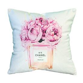 クッション ふわふわ 45x45 なめらかな肌触り かわいい 北欧 姫系 フラワー パフューム ピンク