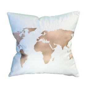 クッション ふわふわ 45x45 なめらかな肌触り かわいい 北欧 姫系 世界地図