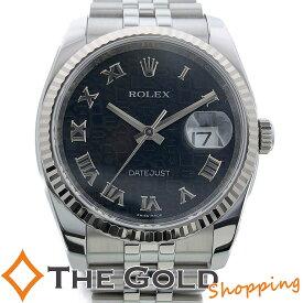 【中古】ロレックス デイトジャスト 116234 コンピューター ランダム ライトポリッシュ済 コンビ WG SS ホリコンローマ 黒文字盤 自動巻き ROLEX 腕時計 [メンズ 男性用]