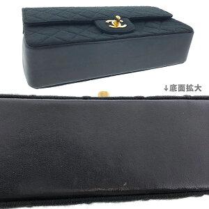 【中古】シャネルマトラッセ25cmコットンラムスキンチェーンショルダーWフラップブラック黒CHANELレザーバッグショルダーバッグ