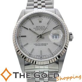 【中古】ロレックス デイトジャスト 16234 P番 並行2001年 シルバー モザイク文字盤 ライトポリッシュ済 SS AT 自動巻き ROLEX 腕時計 メンズ[男性用]