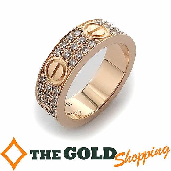 カルティエ / Cartier : ラブリング #55 ウェディングリング ピンクゴールド パヴェ ダイヤモンド B4085800 ジュエリー・アクセサリー 指輪・リング 【中古】プレゼント ギフト ご褒美 春 新生活 買取り 下取り GW