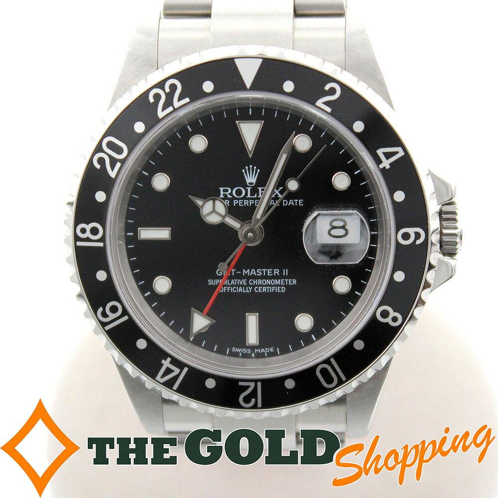 ロレックス GMTマスター2 16710 スティックダイヤル Z番 日ロレ オーバーホール 黒黒 時計 腕時計 メンズ 男性用 ROLEX 【中古】