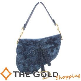 【中古】Dior クリスチャンディオール サドルバッグ 未使用品 デニム ブルー M0446CD-MA49E/S8 [バッグ ショルダーバッグ]