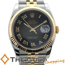 【中古】ロレックス デイトジャスト 36 116233 D番 2006年 国内 ブラック サンビーム ローマン ライトポリッシュ済 YG SS コンビ ROLEX 腕時計 [メンズ 男性用]