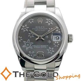 【中古】ロレックス デイトジャスト 178240 2013年国内 グレー フラワー OH済 31mm アラビア ランダム番 ROLEX DATEJUST 腕時計 [ボーイズ 男女兼用]