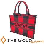 【中古】ChiristianDiorディオールブックトートスモールチェック柄赤レッドブラック黒キャンバスハンドバッグトートバッグ