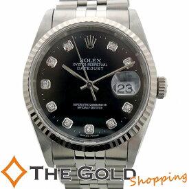 【中古】ロレックス デイトジャスト 16234G U番 並行 OH済 黒文字盤 10Pダイヤ ROLEX 腕時計 メンズ[男性用]