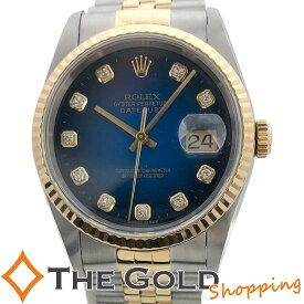【中古】ロレックス デイトジャスト 16233G U番 2000年国内 OH済 ブルーグラデーション 10Pダイヤ ROLEX 腕時計 メンズ[男性用]