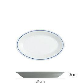 Saturnia(サタルニア) ローマブルーライン オーバルプレート24cm 食器