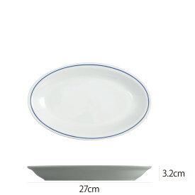 Saturnia(サタルニア) ローマブルーライン オーバルプレート27cm 食器