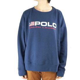 POLO RALPH LAUREN ポロラルフローレンレディース スエットPOLO LOGO PULLOVER SWEATロゴプリントプルオーバースウェットBLUE(ブルー)ウィメンズ ネイビー 90年代 カブリ アスレジャー プリント