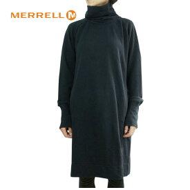 メレル MERRELLレディース ワンピースW FRENCH TERRY LS DRESSフレンチテリーロングスリーブドレスBLACK(ブラック)黒 タートルネック スエット スウェット