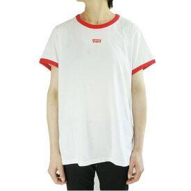 リーバイスレディース TシャツLEVI'S リーバイスRINGER TEEリンガーTシャツWHITExRED (ホワイトxレッド)ウィメンズ T SHIRTS 白 赤 ロゴ 限定 レッド
