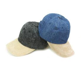 キャップ メンズ6PANEL DENIM CAP6パネル デニムキャップDENIMxSUEDE(デニムxスエード) BLACKDENIMxSUEDE(ブラックデニムxスエード)男女兼用 帽子 スウェード コットン 2トーン