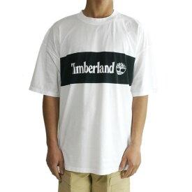 ティンバーランドTIMBERLANDメンズ TシャツTB0A102M 100 LOGO TEEロゴプリントティーシャツWHITExBLACK(ホワイトブラック)黒 白 ボックス クラシック