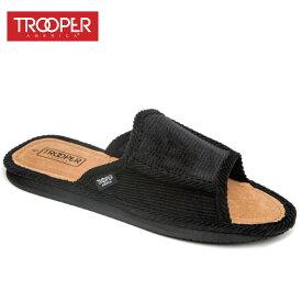 トゥルーパー TROOPERメンズ シューズKK-022 OPEN BACKBLACK(ブラック)スリッポン 靴 黒 スリッパ コーデュロイ