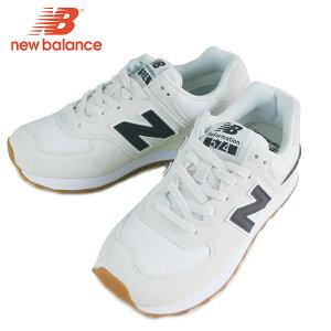 ニューバランスNEW BALANCEレディース スニーカーWL574RECOFF WHITE/BLACKオフホワイト/ブラックスエード 白 黒