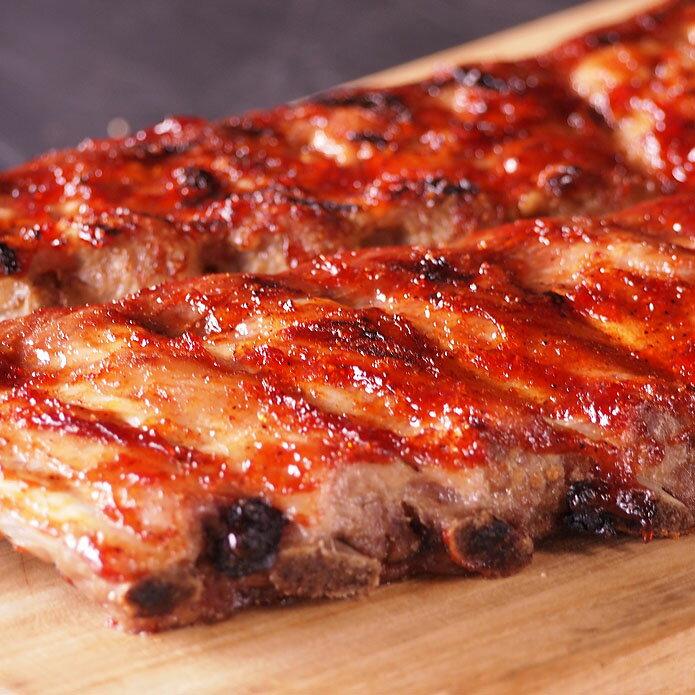 豚スペアリブ(ベービーバックリブ)1kg前後 豚肉 ブロック 2ラック入り☆バーベキュー肉の材料に (直輸入品)-P101