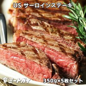 【送料無料】USDAチョイス サーロインステーキ 350g×5枚セット スパイスのおまけ付 総重量1.75kg アメリカンビーフ/USビーフ BBQ/バーベキューに最適 -USB700