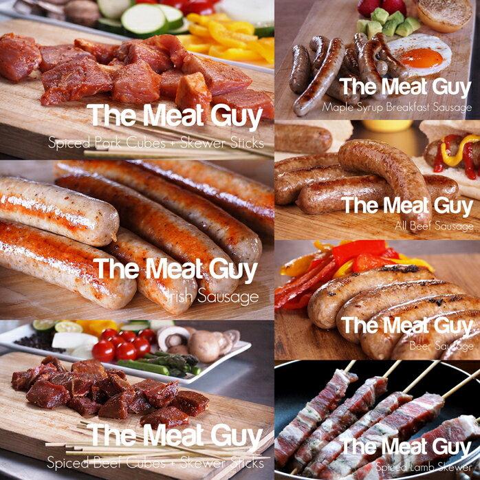 手作りソーセージ&ケバブ7種類お試しセット約2kg・ミートガイ生ソーセージ/バーベキュー串焼き!(ソーセージ:豚肉&牛肉/串焼:ラム肉・豚肉・牛肉)BBQに≪雑誌掲載商品≫お得さ福袋級!焼肉セット -SET102