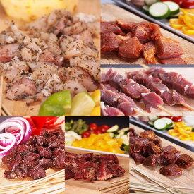 【送料無料】竹串付き味付け生肉キューブ6種お得セット/バーベキューセット 肉 BBQ食材 アウトドア キャンプ -SET113