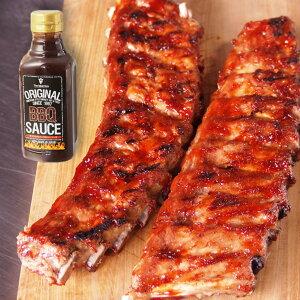 オリジナルBBQソース付!豚スペアリブ(ベービーバックリブ)1.2kg前後 豚肉 ブロック 2ラック入り☆バーベキュー肉の材料に/バーベキューセット 肉 BBQ食材 アウトドア キャンプ-SET1