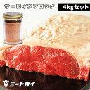 【送料無料】グラスフェッドビーフ サーロインステーキブロック肉 4kg(2kg×2)+ステーキスパイス 120g セット -S…