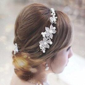 ヘッドドレス ウェディング パール バックカチューシャ 髪飾り ヘアアクセサリー ブライダル 結婚式 花 花嫁 ロング 簪 卒業式 ヘッドアクセ 真珠 h22