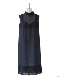 【正規取扱店】beautiful people 17-18A/W wool voile layered like dress navy (ビューティフルピープル)