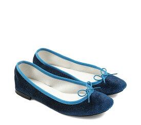 【正規取扱店】repetto Ballerina Cendrillon Velours Glitter Blue (レペット) (サンドリオン レペット)