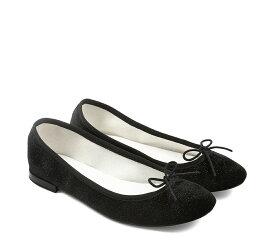 【正規取扱店】repetto Ballerina Cendrillon Velours Glitter Black (レペット) (サンドリオン レペット)
