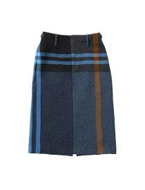beautiful people ビューティフルピープル 19-20A/W ビッグタータンツイードサイドラインスカート blue