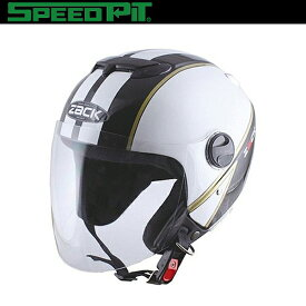 TNK工業 SPEEDPIT ジェットヘルメット ZACK ZR-11 ダブルシールド構造 ホワイト/ブラック/ゴールド フリーサイズ(58〜59cm) フィッティングフリー SG規格適合 バイク用品