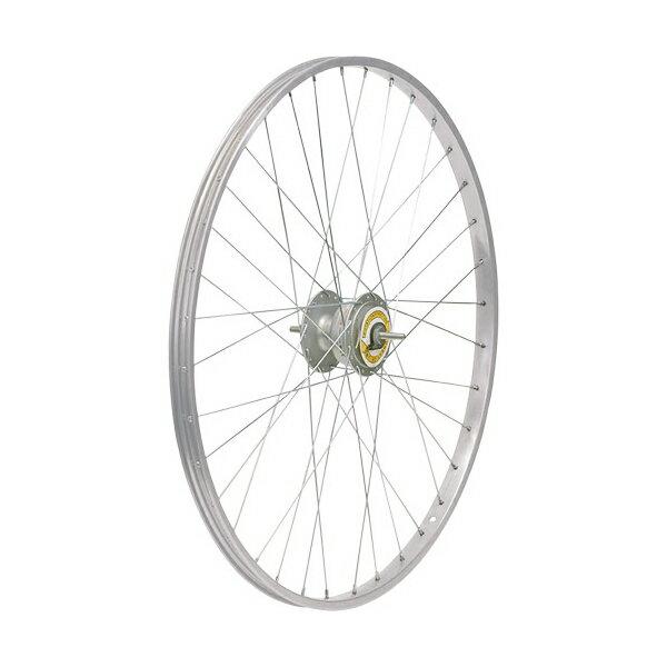 敷島 前輪 24 × 1 3/8 ハブダイナモ アルミリム シマノ2端子 24インチ ホイール 車輪 自転車